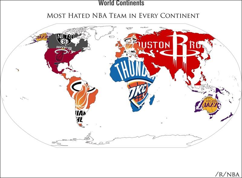 最も嫌われているチーム NBA 世界